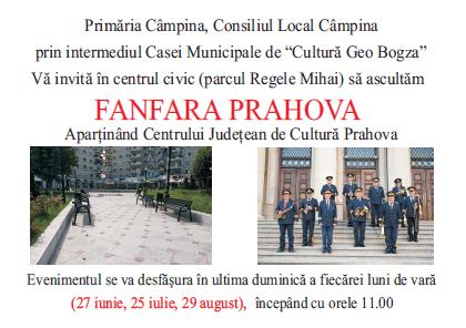 În Câmpina, va cânta Fanfara în ultima duminică din fiecare lună de vară